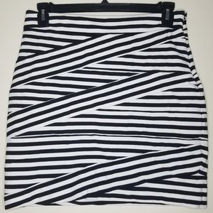 Express Black and White Striped Pencil Skirt